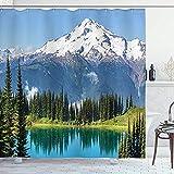 wobuzhidaoshamingzi Tenda da Doccia per Cottage, Paesaggio del Lago Image e Picco del ghiacciaio di Snowy a Washington USA con la Foresta di pini Alta