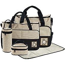 FREESOO Set 5 kits Bolsa de Mama Para Bebe Biberon Bolso Cambiador de Pañales Bolsillo Maternal