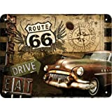 Nostalgic-Art 26119 US Highways - Route 66 Road Trip, Blechschild 15x20 cm