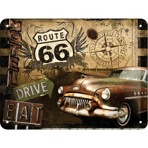 Nostalgic-Art 26119 US Highways - Route 66 Road Trip, Blechschild 15x20 cm (Motorrad Metall Biker Schild)