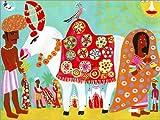 Posterlounge Acrylglasbild 130 x 100 cm: Mann füttert Verzierte Heilige Kuh mit Vogel auf Dem Rücken in Indien von Ikon Images/Mauritius Images - Wandbild, Acryl Glasbild, Druck auf Acryl Glas Bild