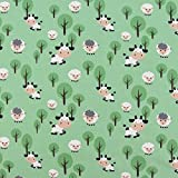 Baumwolljersey Jerseystoff Jersey Kuh Schaf Wiese grün