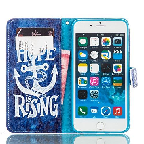 ISAKEN Custodia iPhone 6 Plus, Cover iPhone 6S Plus, Elegante borsa Custodia in Pelle Protettiva Flip Portafoglio Case Cover per Apple iPhone 6 Plus (6 5.5) / con Supporto di Stand / Carte Slot / Chi ancora HOPE blu