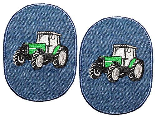 Preisvergleich Produktbild 2 Stück - ovaler Flicken / Bügelbild Jeans - Traktor - 8,5 cm * 11,5 cm - oval - Bügelbilder - Aufnäher Aufnähen und Bügeln / Applikation für Jungen Kinder Fahrzeug
