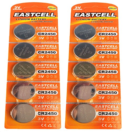 EASTCELL 10 x CR2450 3V Lithium Knopfzelle 600 mAh (2 Blistercards a 5 Batterien) Markenware FBA