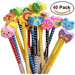 Conjunto de lápiz de dibujos animados, 40 piezas de lápiz de madera con lápices de color grafito de goma con borradores, material escolar Regalo de los niños, para fiesta de cumpleaños de los niños Fiesta de cumpleaños