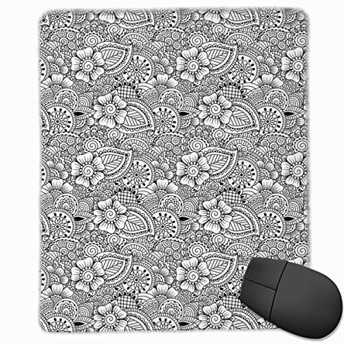 Mouse Mat Stitched Edges, Tribal Henna Tattoo Design Monochrome Asian Cultures Inspirations Floral Elements,Gaming Mouse Pad Non-Slip Rubber Base -