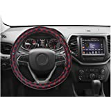 NIKAVI Microfiber PU Leather Skidproof Steering Wheel Cover, Universal Fits 38cm/15 On Most Car, SUV, Van & Trucks (RED…
