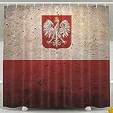 Pengyong Vintage Stil Polen Flagge Form aus widerstandsfähigem Stoff Duschvorhang für Badezimmer, Wasser, Standard–Repellant 152,4x 182,9cm