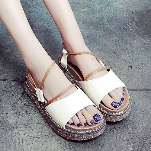 RUGAI-UE Donne sandali estivi scarpe spessa Institute Wind Scarpe comfort Brown