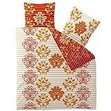 3-tlg. Bettwäsche 200x200 100% Baumwolle Seersucker Marken Qualität | CelinaTex Enjoy Wendedesign Kiley weiß orange Streifen Ornamente