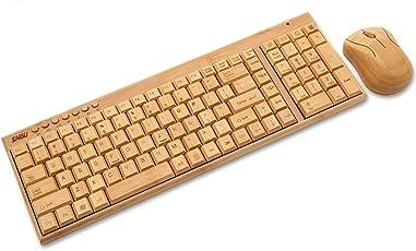 Sengu 190203223136sg-kg201-n Bambus + mg94-n Full Handgefertigt Wireless Tastatur und Maus Combo, 2Schlüssel Pads, 2,4GHz (QWERTY Layout)