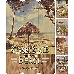 Letreros de madera decorativos de lugares americanos en un estilo vintage Shabby Chic – Santa Monica, Santa Barbara, Estado del Sol y Estado del Pacífico
