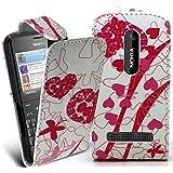 Accessory Master 5055716366808 Design Blumen Pu Ledertasche für Nokia Asha 210 rosa preiswert