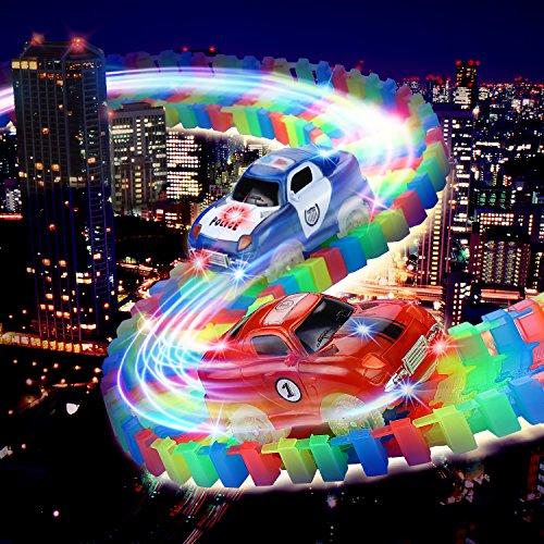 Cooljoy Circuito Coches Juguete Niño  Twister Tracks Neon Glow  Flexible Coches Juguete Piezas de La Pista 260 Piezas 1 Pegatinas 1 Destornillador 2 Coches (1 Carro de Policía y 1 Coche)