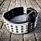 Bestia genuine leather dog collar with studs and...
