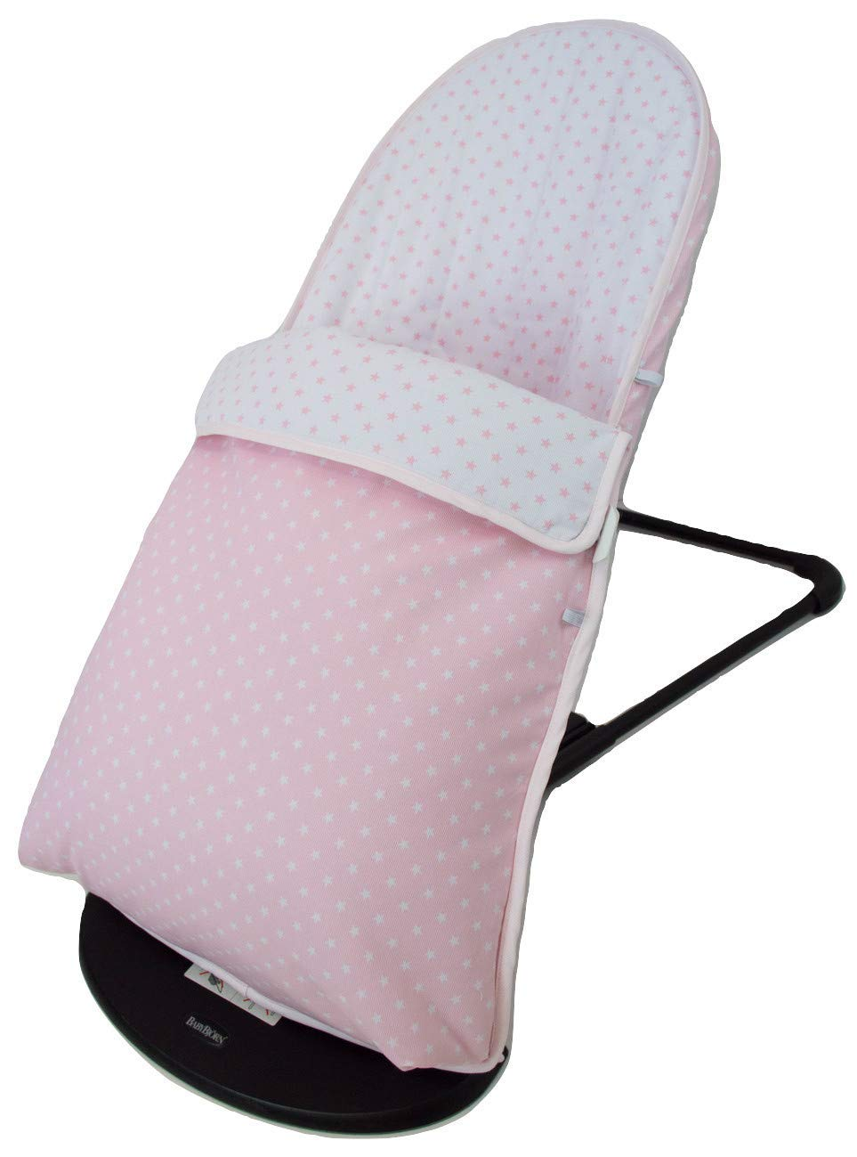 Baby Bouncer Cover and Footmuff for BabyBjörn Balance and Soft Personalized with Embroidered Name. Several Models Available (Stars Pink) Borda y más Upholstery for totally replacing the original Babybjörn baby bouncer upholstery. It consists of FOOTMUFF and COVER. Compatible with Babybjörn Balance and Babybjörn Balance Soft. Made in natural soft and breathable pique, without chemical substances perfect for your baby as it reduces your baby's skin irritation or reaction. With our footmuff changeable into cover you will keep your baby war in the coldest days at the same time you provide your baby bouncer a new image. You only need to fit together the cover and the upholstery by the zippers and velcro system. The footmuff adjustable to 3 different positions. You won't need to worry about the blanket again; your baby will be able to play and sleep without being cold. Design: Made in pink pique with white stars combined with white pique and pink stars. 100% made in Spain with the best finishes and qualities. It can be easily removed and wash in the washing machine, programmes lower than 30 degrees and using organic or neutral soap. 3