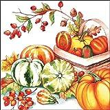 Ambiente Papierservietten - Servietten Lunch / Party / ca. 33x33cm Herbst - Autumn - Pumpkin & Rosehips - Kürbis und Hagebutte - Halloween - Ideal Als Geschenk Und Tisch-Deko