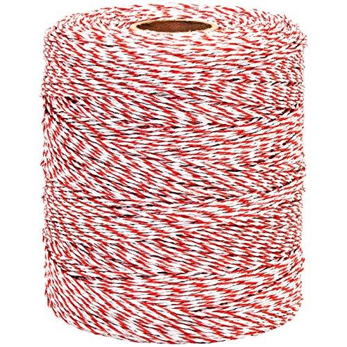 Weidezaun Litze 1000m, 1x0,25 Kupfer + 8x0,2 Niro, weiß-rot 4**** Weidezaunlitze - 2