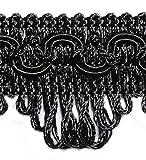 Posamentenborte Länge 3,0 m / Breite 35 mm / Farbe Schwarz/ Brokatborten Dekoborte Bordüre Borte mit Posamenten Fransen Brokat Spitze Bordüre Antik Jugendstil Barock