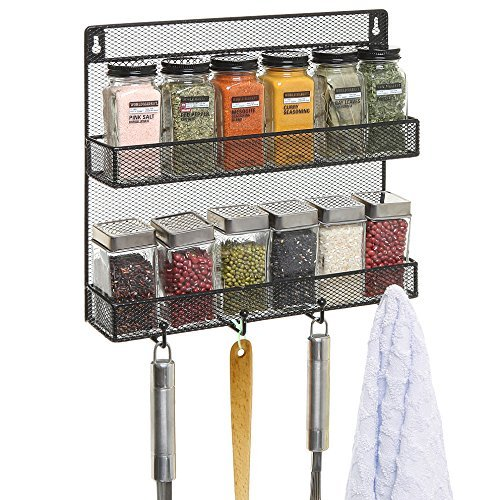 Wall Mounted Black Wire Mesh Metal 2 Shelf Multipurpose Storage Organizer Rack w/ 4 Hanging Hooks