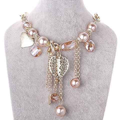 FushoP Quaste Statement Halskette Herz Blume Blatt Kristall Perlen Anhänger (Vergoldet)