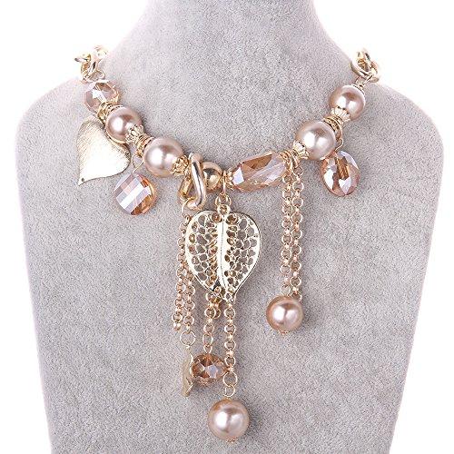 FushoP Quaste Statement Halskette Herz Blume Blatt Kristall Perlen Anhänger (Vergoldet) (Opal Moon Halskette)