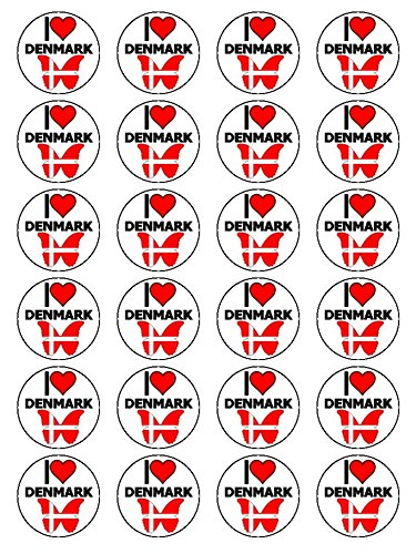 X24 1.5 Inch I Love Denmark Cup Cake Toppers Decorations On Edible Rice Paper