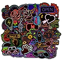 Vinyl Neon Light 50 Pcs Stickers Pack Waterbottle Decals for Laptop Car Luggage Water Bottle Helmet Bumper Skateboard Guitar Bike Waterproof PVC Decals Cool Graffiti Stickers Pack