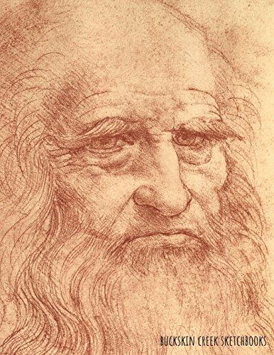Sketchbook: Leonardo da Vinci Self Portrait: 8.5 x 11 Inches - 200 Blank Pages with Borders -