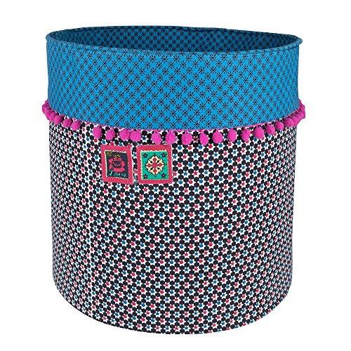 Colorique Chokhi Timbres Boîte de Rangement étoiles Fuchsia, Large Diamètre 40 x 40 cm, Fuchsia, Bleu