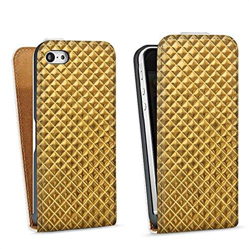 Apple iPhone 4 Housse Étui Silicone Coque Protection Rivets Or Motif Sac Downflip blanc