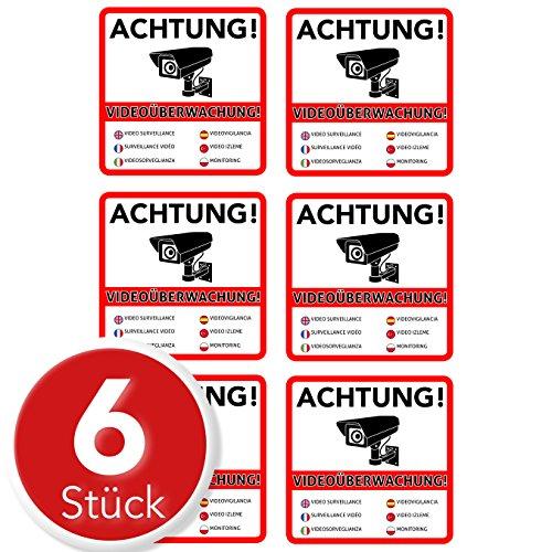 Achtung Videoüberwachung Premium Aufkleber – Schild – Sticker  Hinweisschild – Warnschild für mit Kamera videoüberwachtes Objekt – Haus – Gelände  kratz- wetterfest 10 x 10 cm