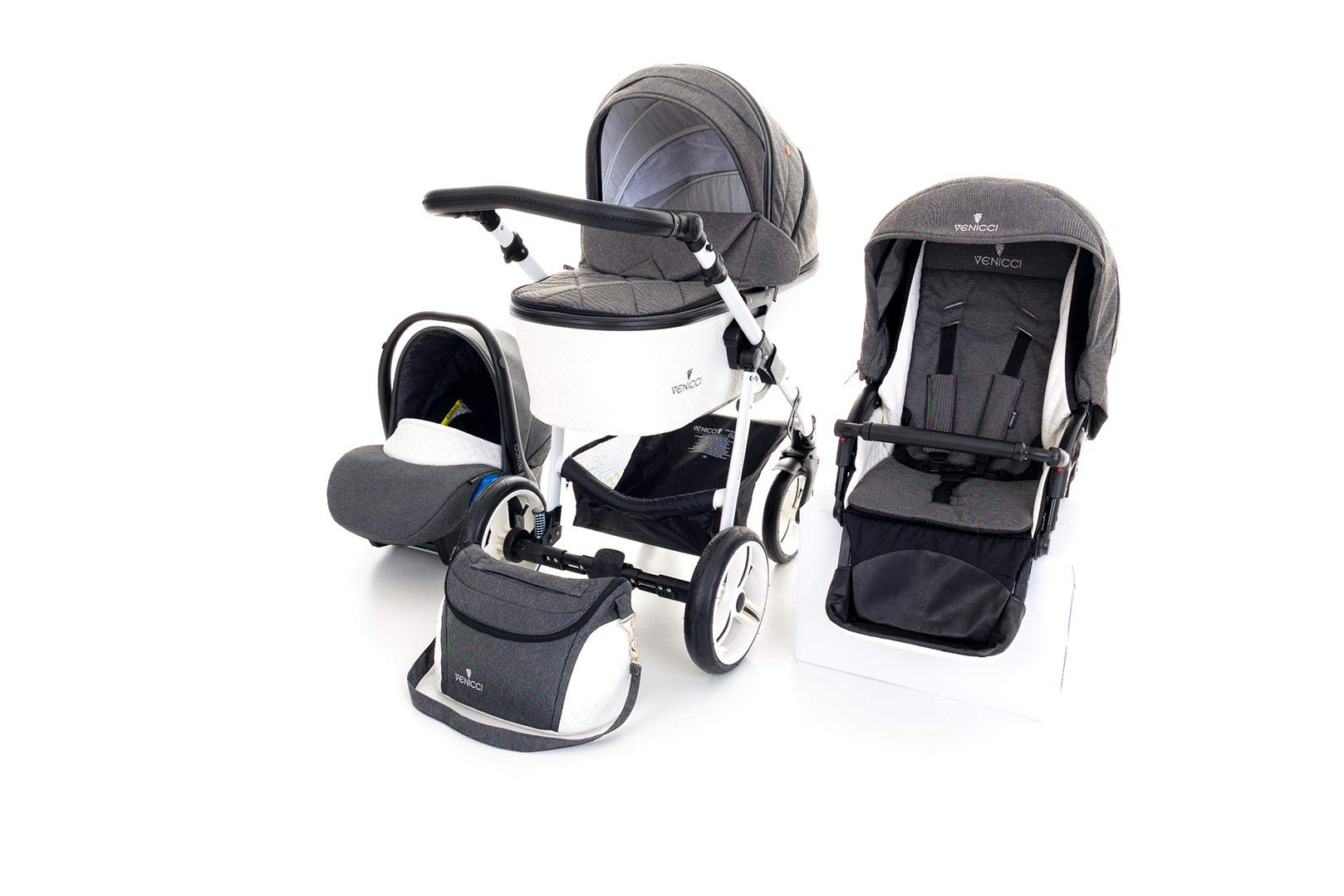 Venicci Pure 3-in-1 Travel System - Denim Black - with Carrycot + Car Seat + Changing Bag + Apron + Raincover + Mosquito Net + 5-Point Harness and UV 50+ Fabric + Car Seat Adapters + Cup Holder  3 in 1 Travel System with included Group 0+ Car Seat Suitable for your baby from birth until 36 months 5-point harness to enhance the safety of your child 6