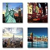 USA New York - Set C schwebend, 4-teiliges Bilder-Set je Teil 29x29cm, Seidenmatte moderne Optik auf Forex, UV-stabil, wasserfest, Kunstdruck für Büro, Wohnzimmer, XXL Deko Bild