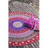 Rawyal-Indian Barhmeri Round Roundie Beach Throw Tapestry Hippy Boho Gypsy Cotton Tablecloth Beach Towel , Round Yoga Mat by Rawyal