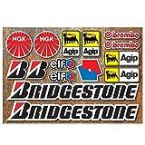 Stickerbude24 * Motorrad Race Aufkleber Set 15 x Aufkleber Bridgestone Brembo NGK Elf AGIP