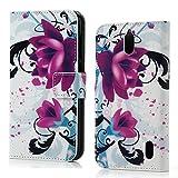 Maxfe.co Hochwertig Schutzhülle für Huawei Y625 Case Cover Bunte PU Leder Material Stylisches Designer Case Handy Tasche Etui(Blumen Muster)