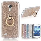 Für Samsung Galaxy S4 Mini Hülle, Pheant® Schutzhülle mit Ständer Ring [Durchsichtige Handyhülle + Glitzer Papier in Gold]