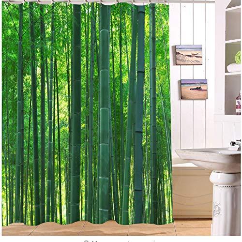 Chenghao's shop Grüne 3D Duschvorhänge Scenic Bamboo Forest Waschbar Bad Vorhang Wasserdichtes Polyestergewebe Für Badewanne Dekor 240 (B) X 200 (H) cm