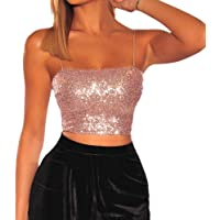 Zerototens Women's Camisole Shimmer Ladies Sexy Sparkle Tank Top Sleeveless Blouse Tops Sequins Embellished Vest T-Shirt…