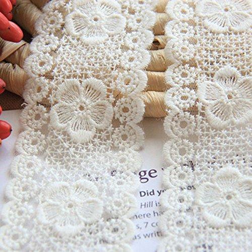 Elfenbein 5Meter 21/20,3cm breit Grace Blume Venise Lace Kleid Spitze Trim Stoff Ribbon Vorhang Zubehör Craft Spitze -