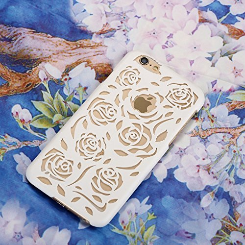 Case for iPhone 6/6S Rose Hollow Out Design PC Hard Case for Apple iPhone 6/6S - Blue White