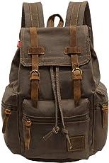 P.KU.VDSL Canvas Rucksack,Vintage Schulrucksack Retro Rucksack Daypack Backpack Lederrucksack Wanderrucksack Reisetasche Laptoprucksack für Herren Damen Jungen Mädchen