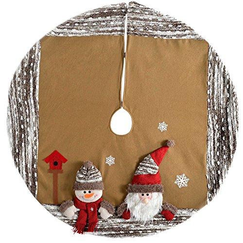 WeRChristmas 3d santa y Muñeco de nieve Navidad falda del árbol decoración,...