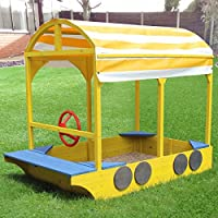 Kingfisher KIDS/CHILDRENS WOODEN BUS SAND BOX/PIT FUN PLAY AREA WITH SEATING AND CANOPY