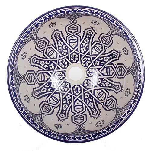 Mediterrane Keramik-Waschbecken Fes99 rund Ø 40 cm bunt H 18 cm Handmade Waschschale | Marokkanische Handwaschbecken Aufsatzwaschbecken für Badezimmer Küche Gäste-WC | Top Dekoration