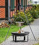 Korono BBQ - Barbecue sospeso, altezza 1,80 m, con pentola in acciaio inox da 10 litri e braciere