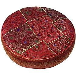 Guru-Shop Orientales Redondas Cojín Remiendo 50 cm, Cojines de Asientos, Cojines en el Suelo con el Relleno de Algodón - Rojo, Viscosa, Piso, Cojín de la Silla