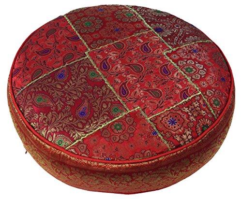 Orientalisches Rundes Patchwork Kissen 50 cm, Sitzkissen, Bodenkissen mit Baumwollfüllung / Heimtextilien
